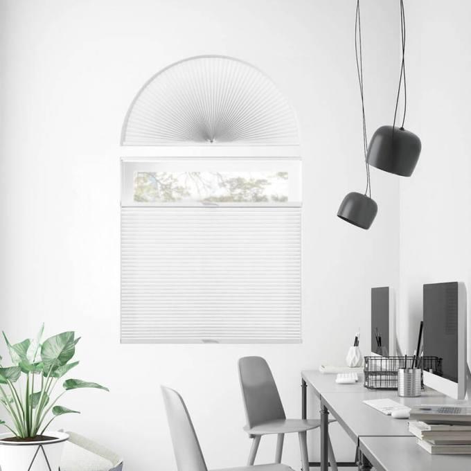 Stores cellulaires filtres de lumière à cellule double pour fenêtres en arche 7331