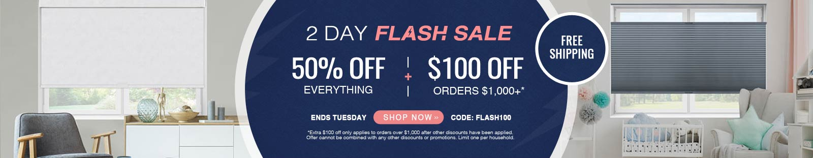 50% off everything + $100 off orders $1000+