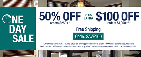 50% off orders $250+ plus extra $100 off orders $1000+