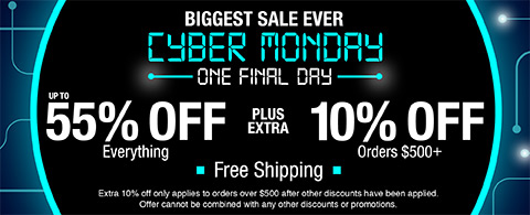 55% off everything plus extra 10% off orders $500+