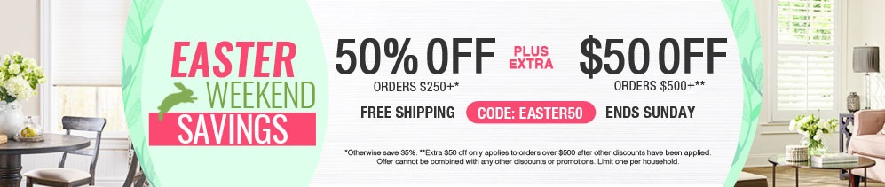 50% off orders $250+ plus extra $50 off orders $500+