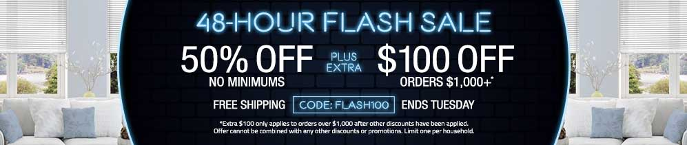 50% off no minimums plus extra $100 off orders $1000+