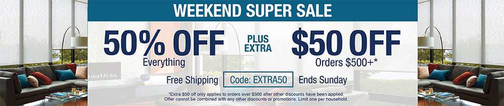 50% off everything plus extra $50 off orders $500+