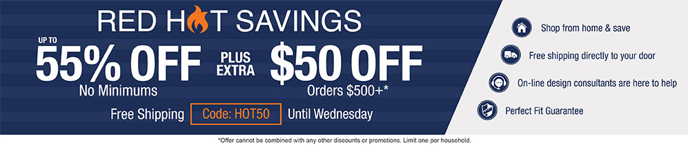 Up to 55% off no minimums plus extra $50 off orders $500+